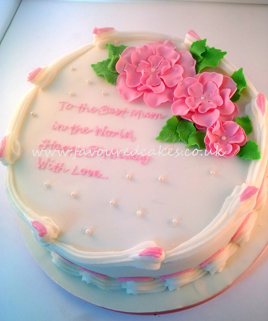 White & Pink Blossoms Cake