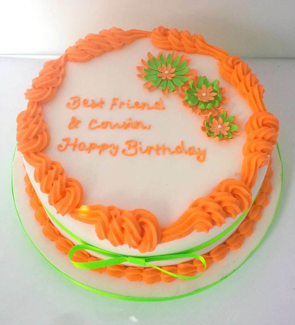 White Orange & Green Daisy Cake