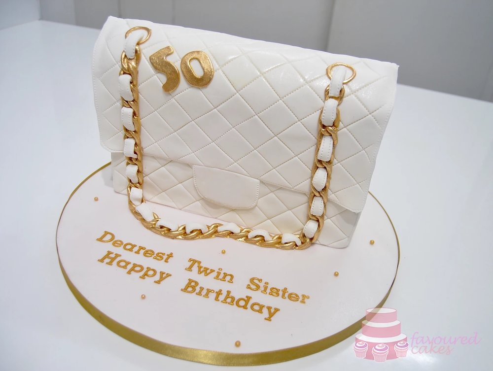 White Quilted Bag Cake