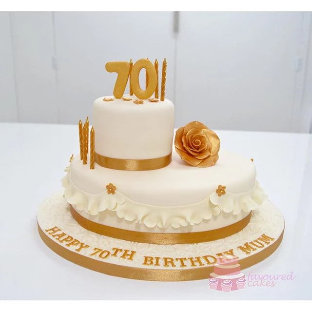 Ivory & Gold 70th Birthday Cake