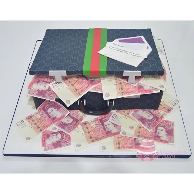 Black Gucci Briefcase Money Cake GU03