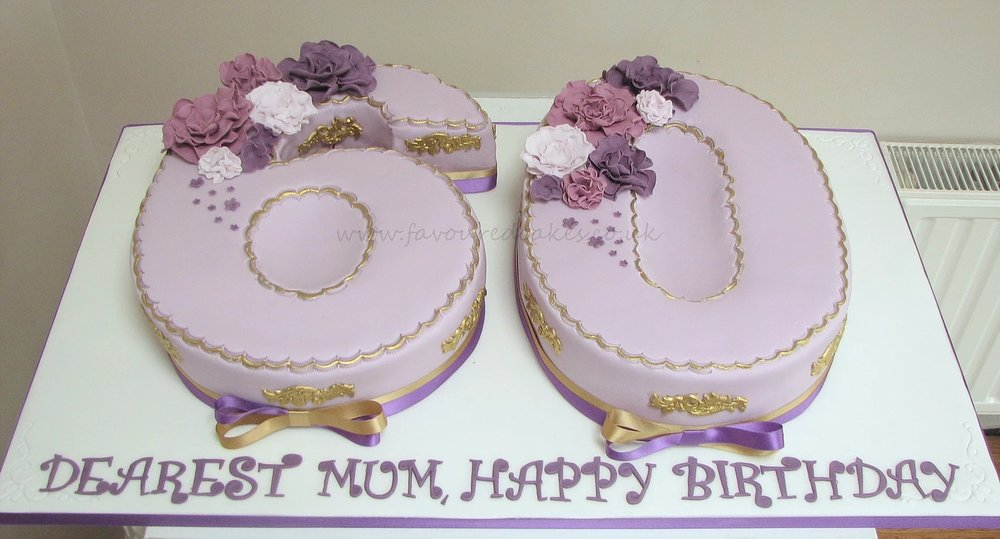Lilac Ruffle Flowers 60th Number Cake