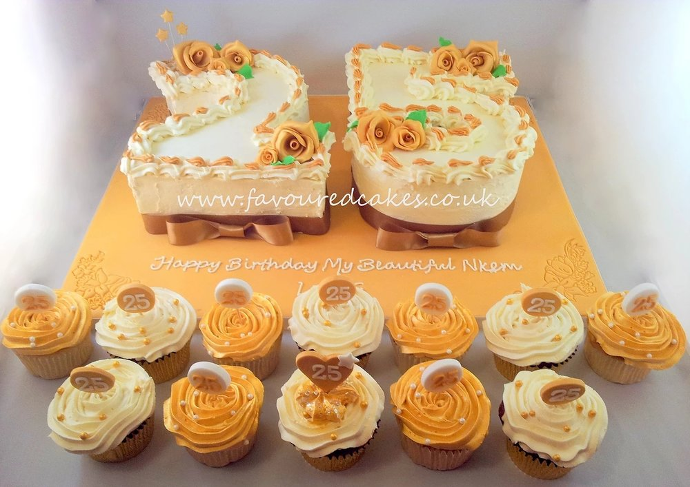 25 Number Cake & Matching Cupcakes