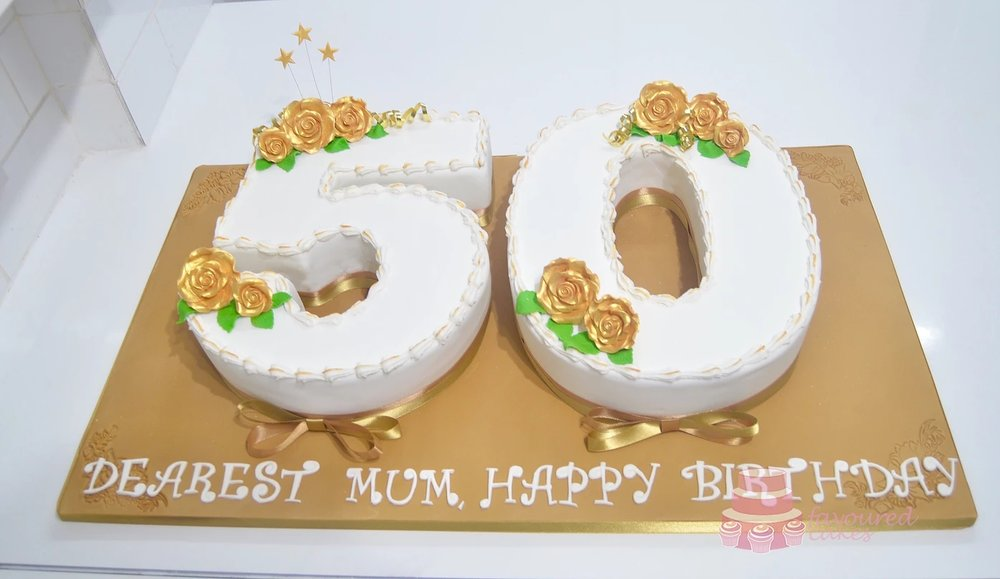 Number 50 Cake with Gold Roses