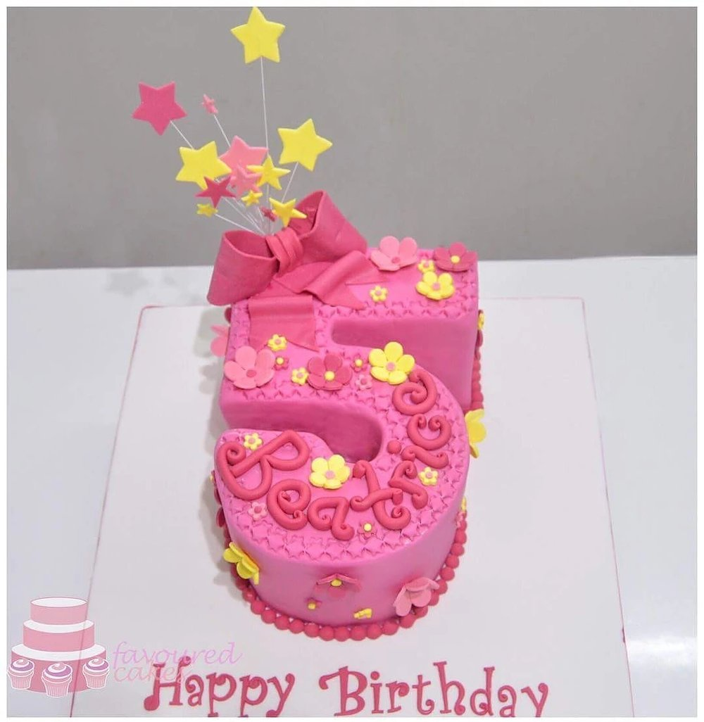 Pink Daisy Number Cake