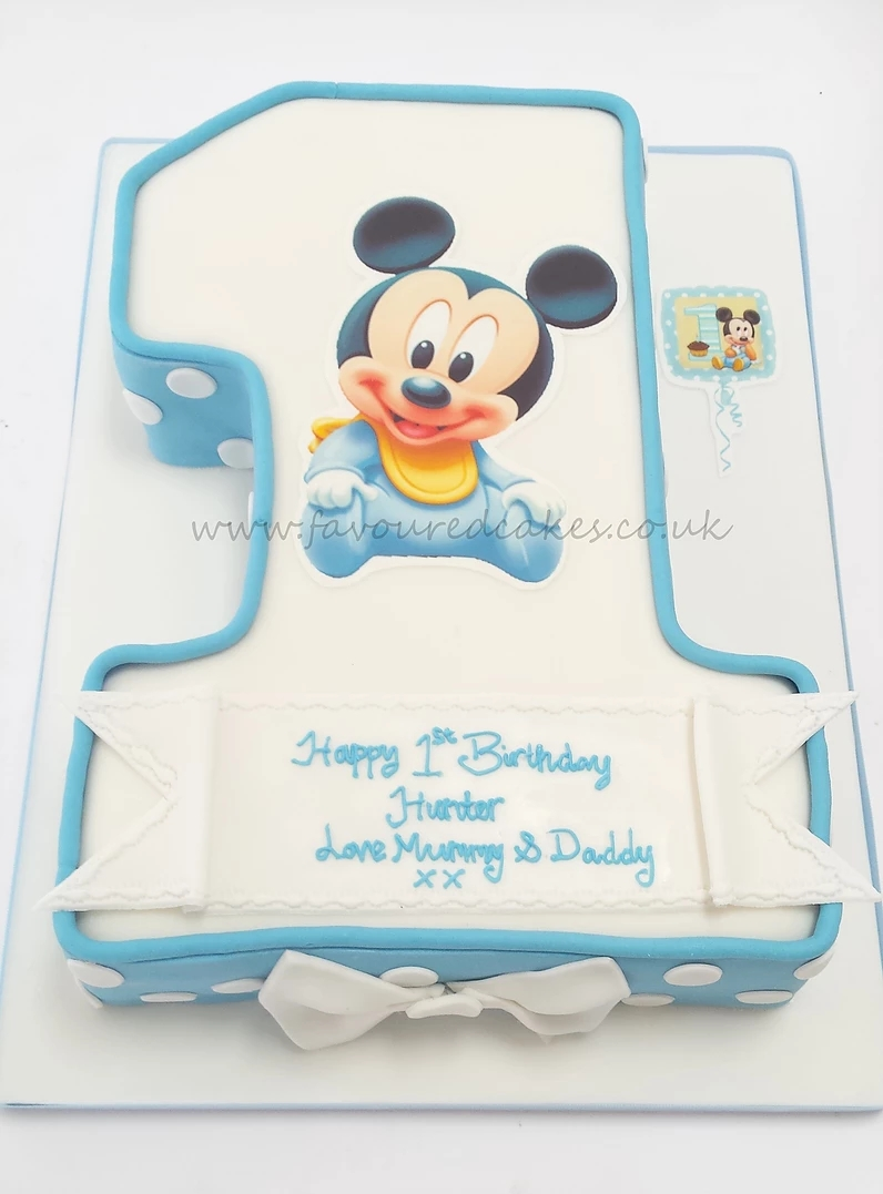 Number 1 Baby Mickey Mouse Cake
