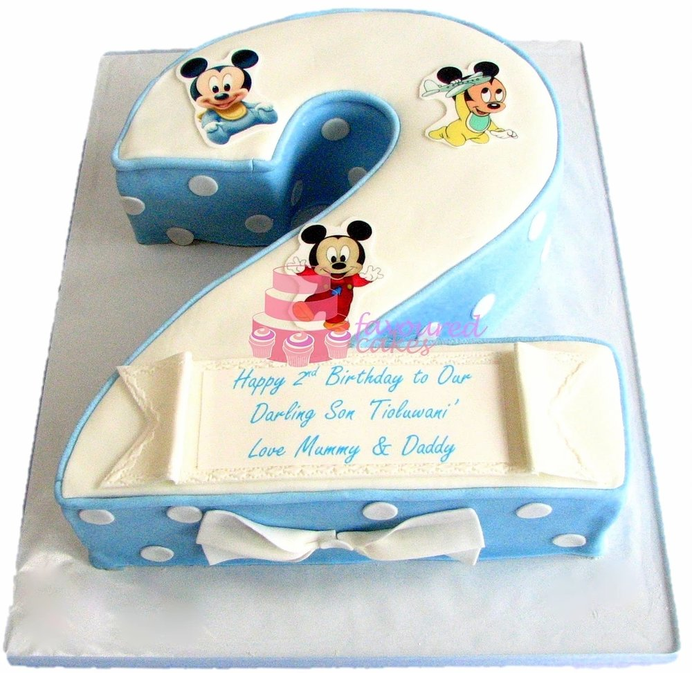 Number 2 Baby Mickey Mouse Cake