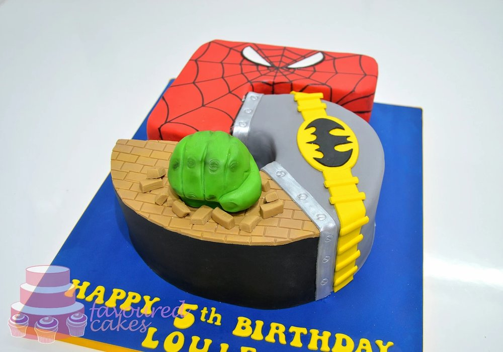 Super Hero Number Cake