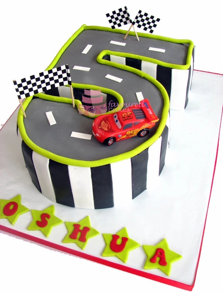 Race Track Cars Number 5 Cake