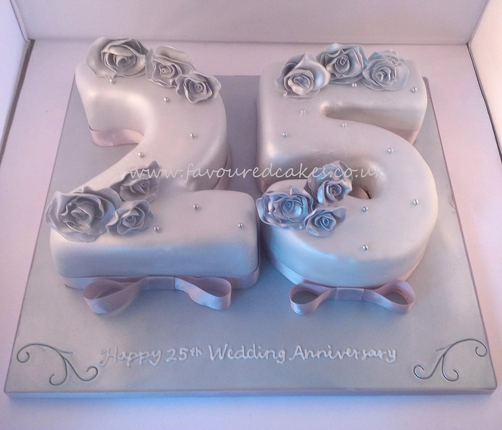 25th Silver Wedding Anniversary cake