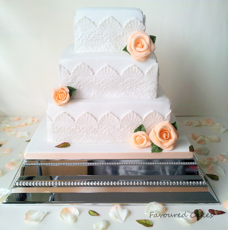 White & Peach Vintage Wedding Cake