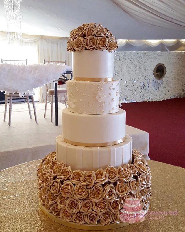 Gold Roselyn 5T Wedding Cake