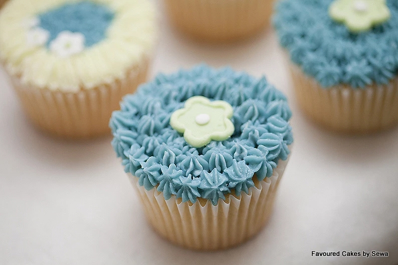 Blue & Yellow Blossom Cupcakes
