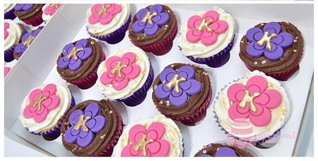 Personalised Pink & Purple Blossom Cupcakes