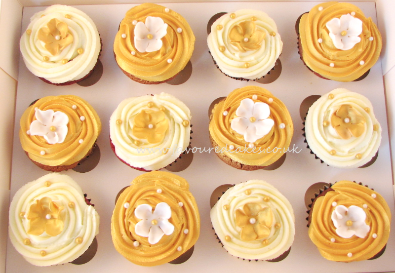 White & Gold Blossom Cupcakes