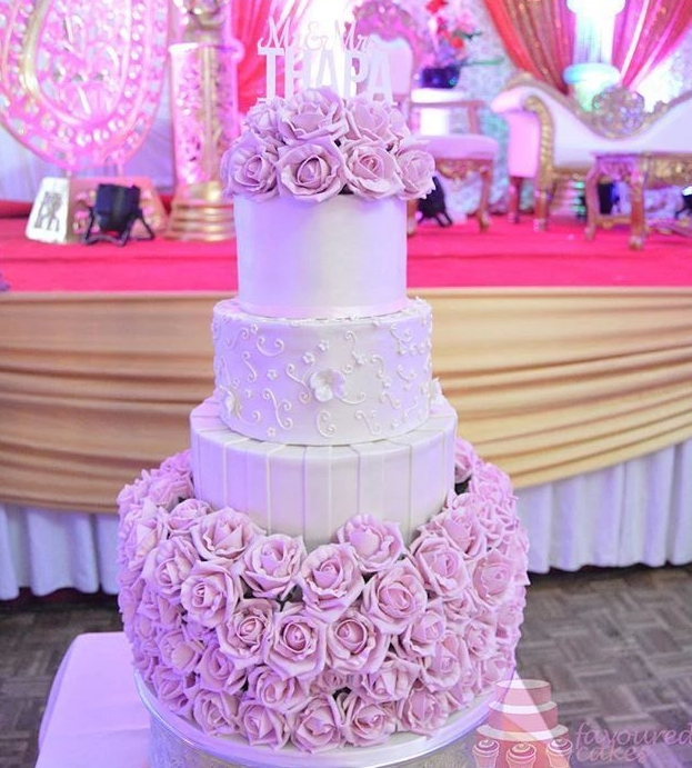 Pink Roselyn Wedding Cake