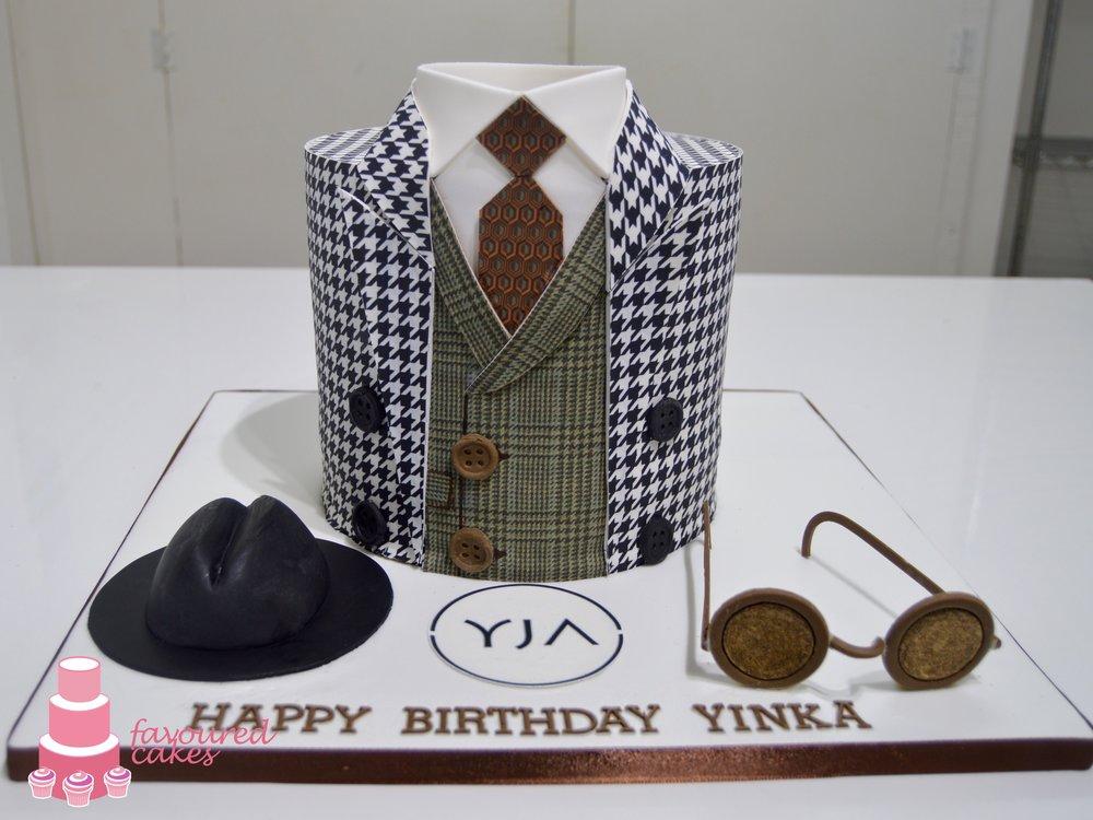 Houndtooth & Tartan Suit Cake