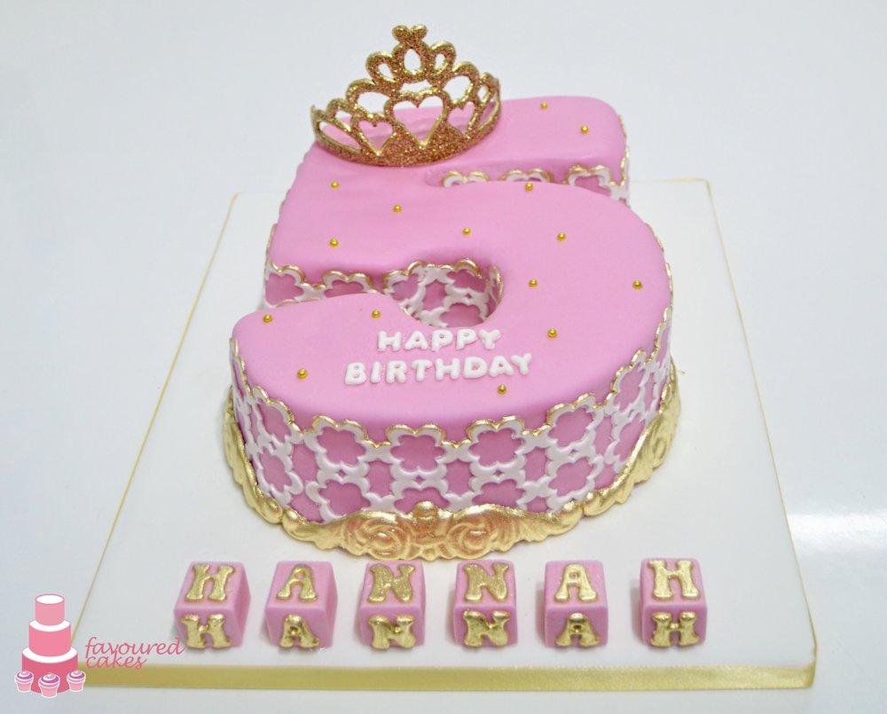 Pink Laced Tiara Number Cake