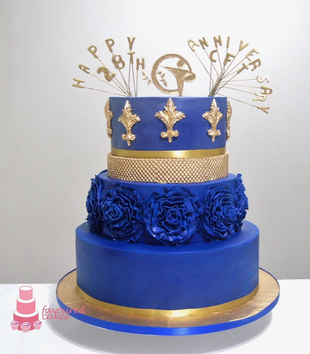 Royal Blue Ruffle Cake