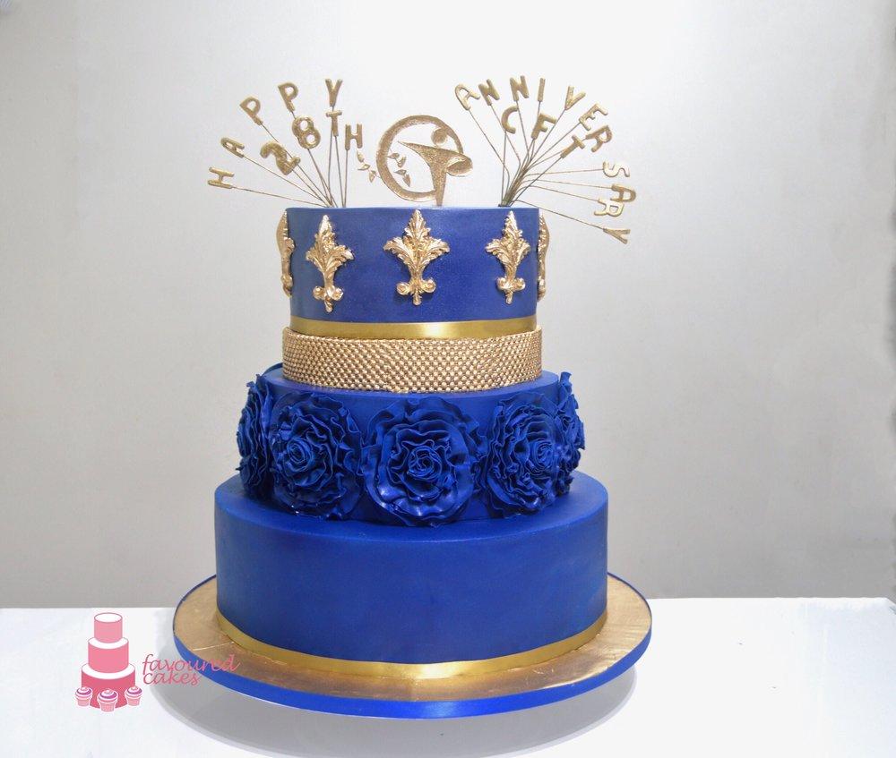 Royal Blue Ruffles Anniversary Cake