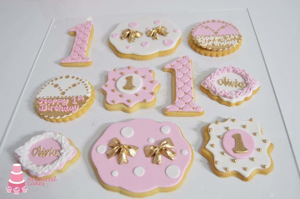 Pink White Gold 1st Birthday Cookies