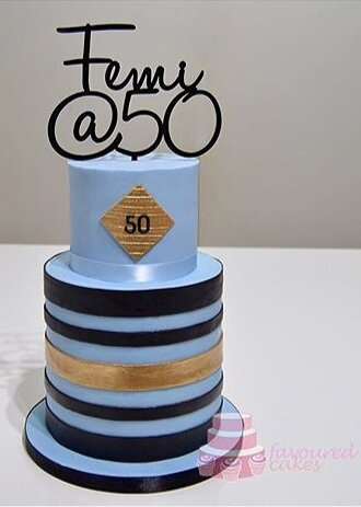 Blue & Black Stripe Cake