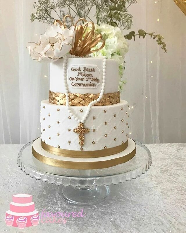 Rose Topper Communion Cake