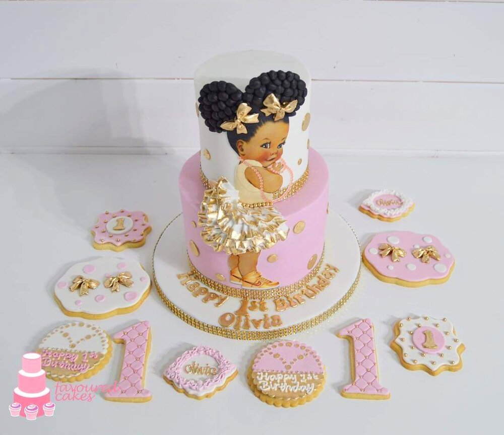 Afro Puff Baby Cake 2 with Cookies