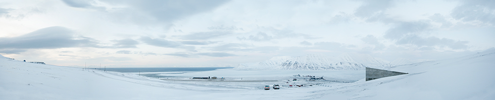 View of the Bay and Airport from Svalbard Global Seed Vault    Spitsbergen Island, Norway