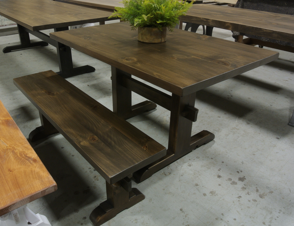 Pine Classic Trestle Table with Walnut Stain. Matching Classic Trestle Bench.