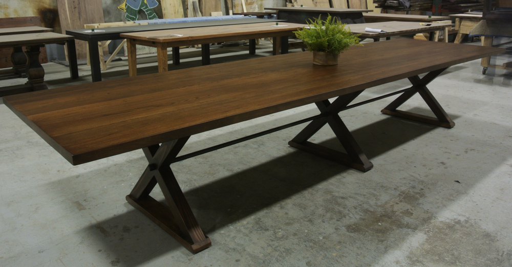 Custom X-shaped Trestle Table with 3 legs and a Turnbuckle. Cherry Wood, Walnut Stain.