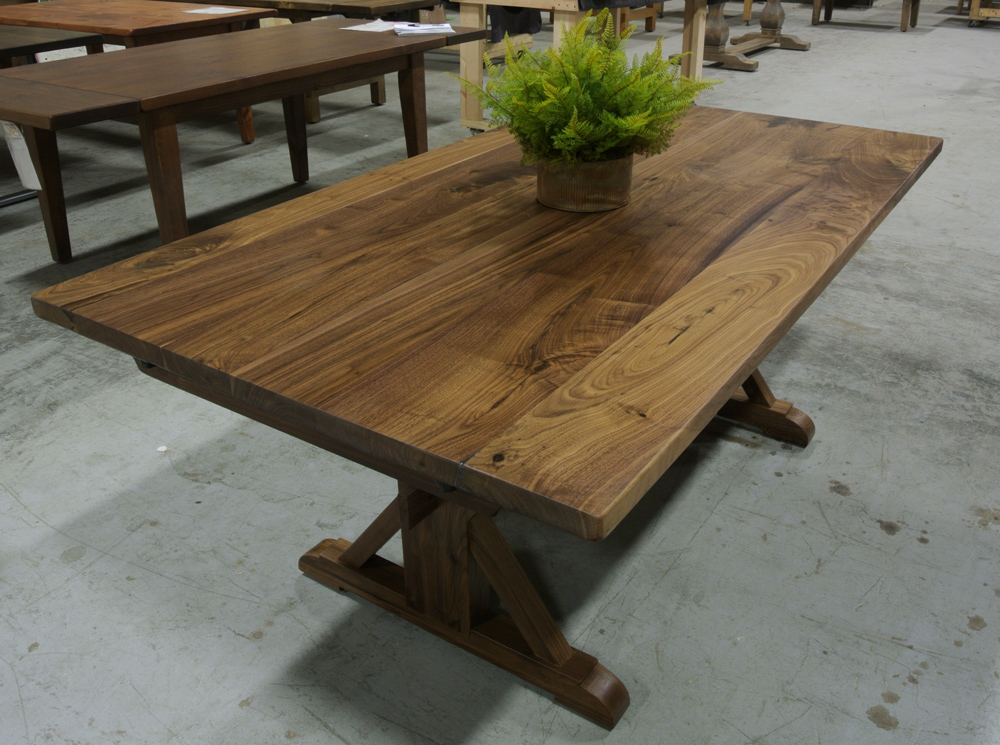 Walnut Dutch Trestle Dining Table.
