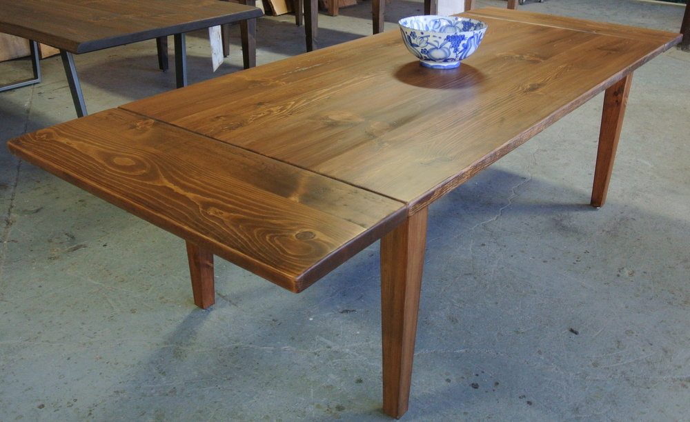 Pine Farm Table on Tapered Legs. Company Board Extensions.