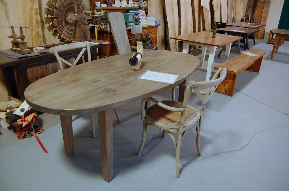 Oval Table on Square Legs. Pine with a Wisteria stain.