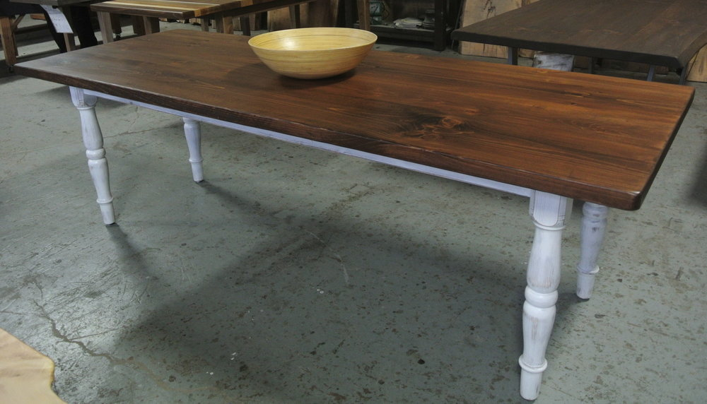 Pine Farm Table. Medium spice brown stain with whitewashed turned legs.