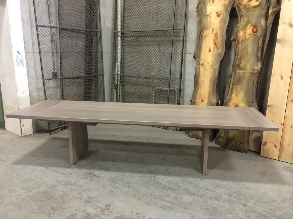 Ash Table with Company Boards. Slab Legs with Straight Edges. Company Board Extensions. Wisteria stain.