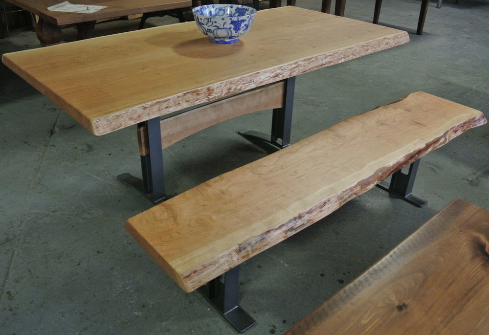 Cherry Live Edge Table and Bench. I-Beam Legs with Wood Trestle Bars.