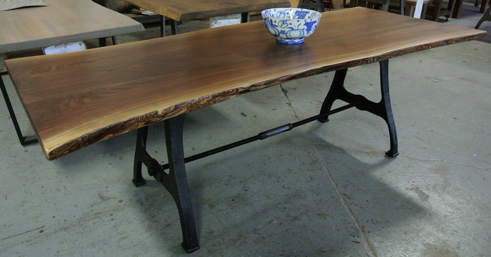 Walnut Live Edge Table on Rhode Island Legs with a Turnbuckle.