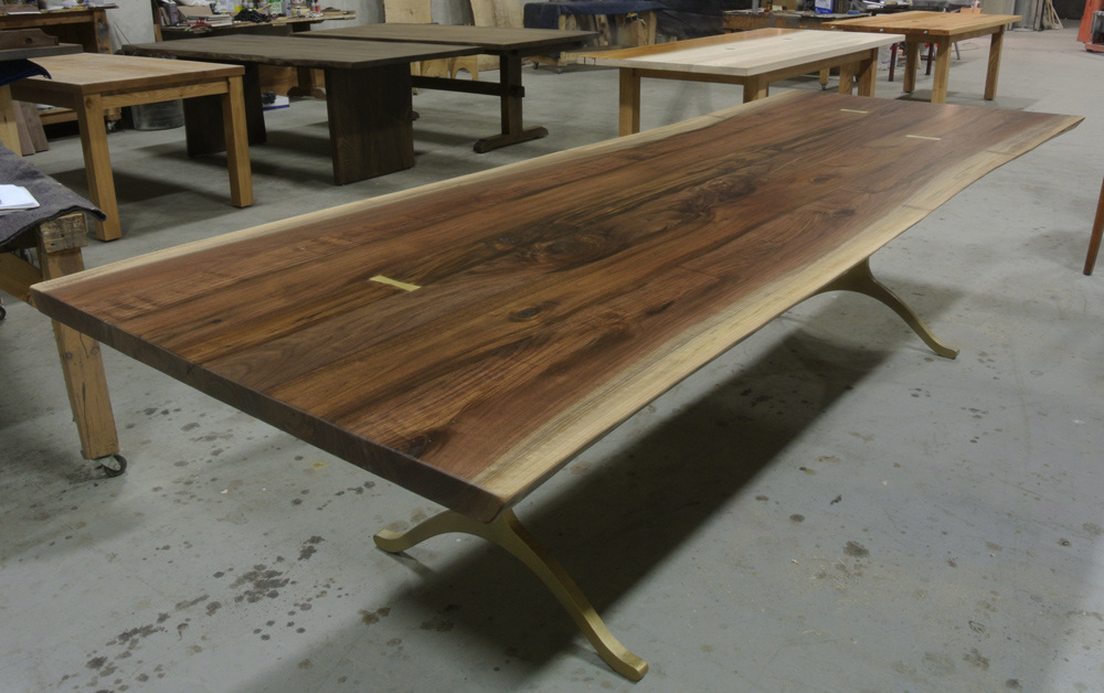 Walnut Live Edge Table with Brass Butterflies. Brass Wishbone Legs