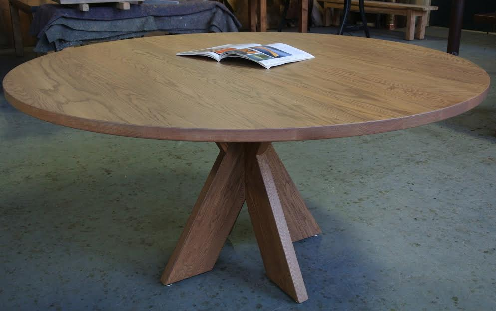 Round Oak Table on an X-Base