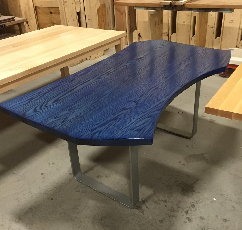Blue Prism Ash Table on 3x1 Metal Legs