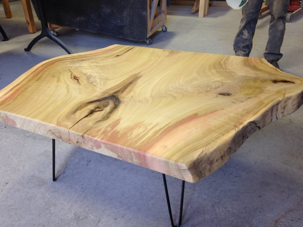 Live Edge Coffee Table made from Poplar Slab. Black Hairpin Legs.