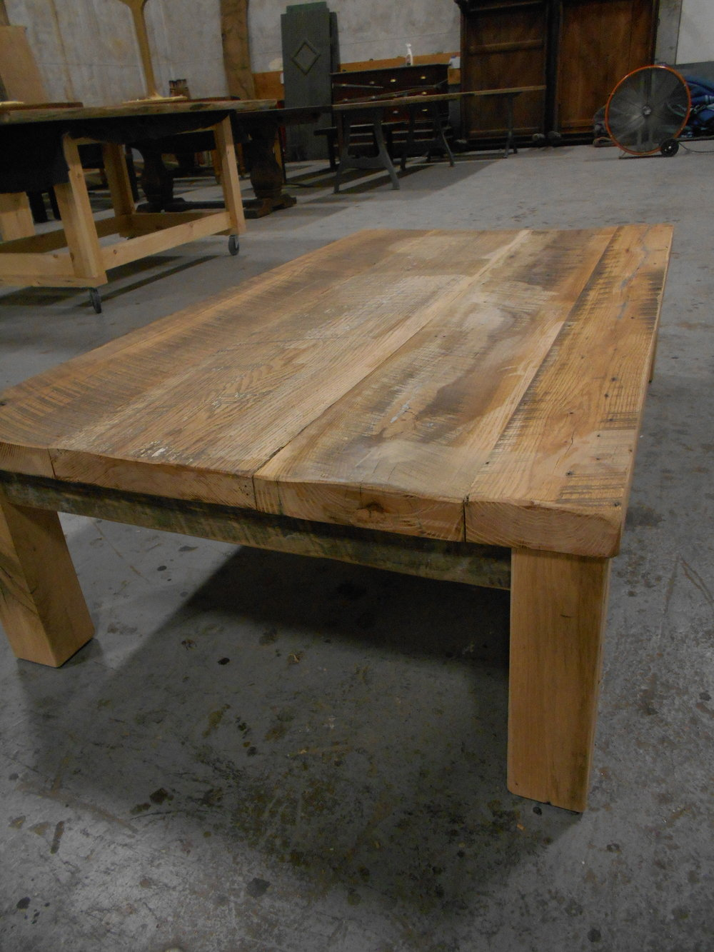 Coffee Table made from Reclaimed Oak Boards and Square Legs.