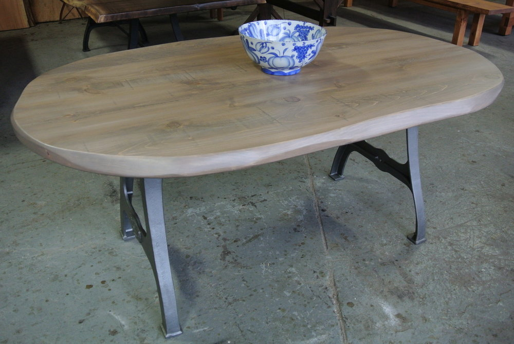 Rustic Oval Table with Wisteria Stain and Rhode Island Legs. Made from Pine Boards.