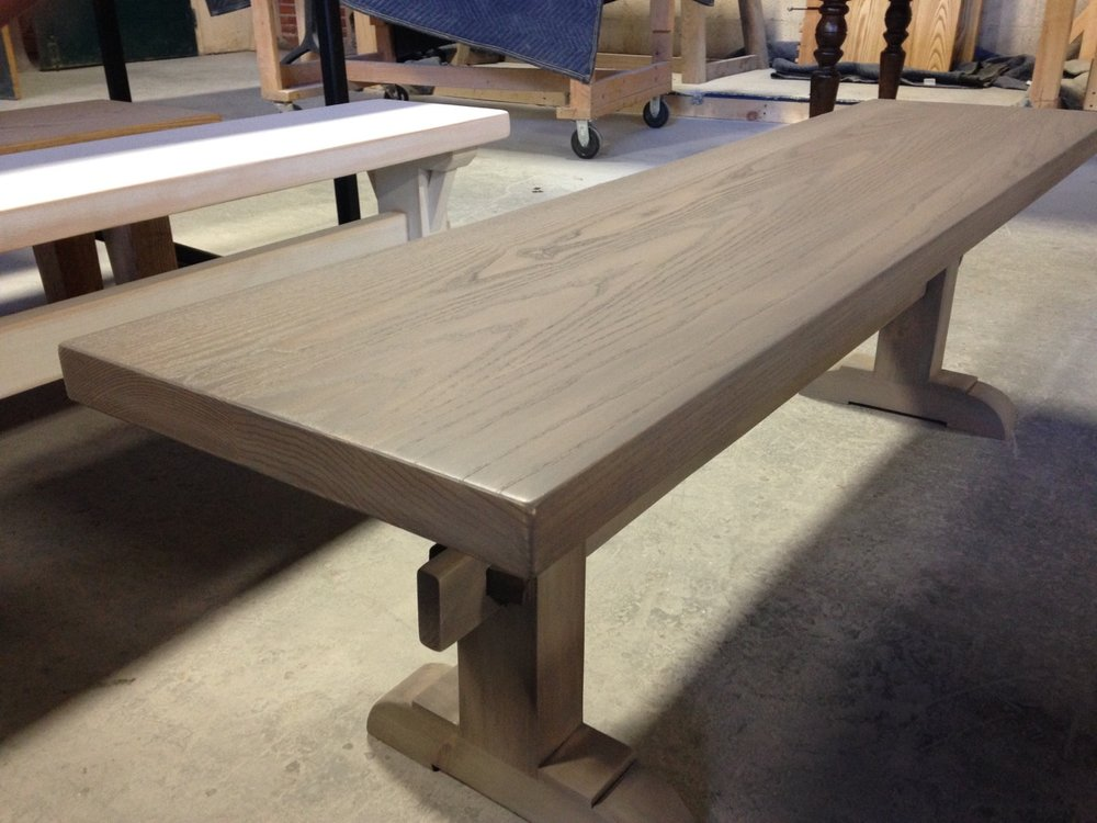 Ash Bench, with Classic Trestle Legs and a Dark Wisteria Stain.