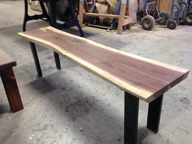 Live Edge Walnut Bench featuring Black 3x1 Staple Legs.