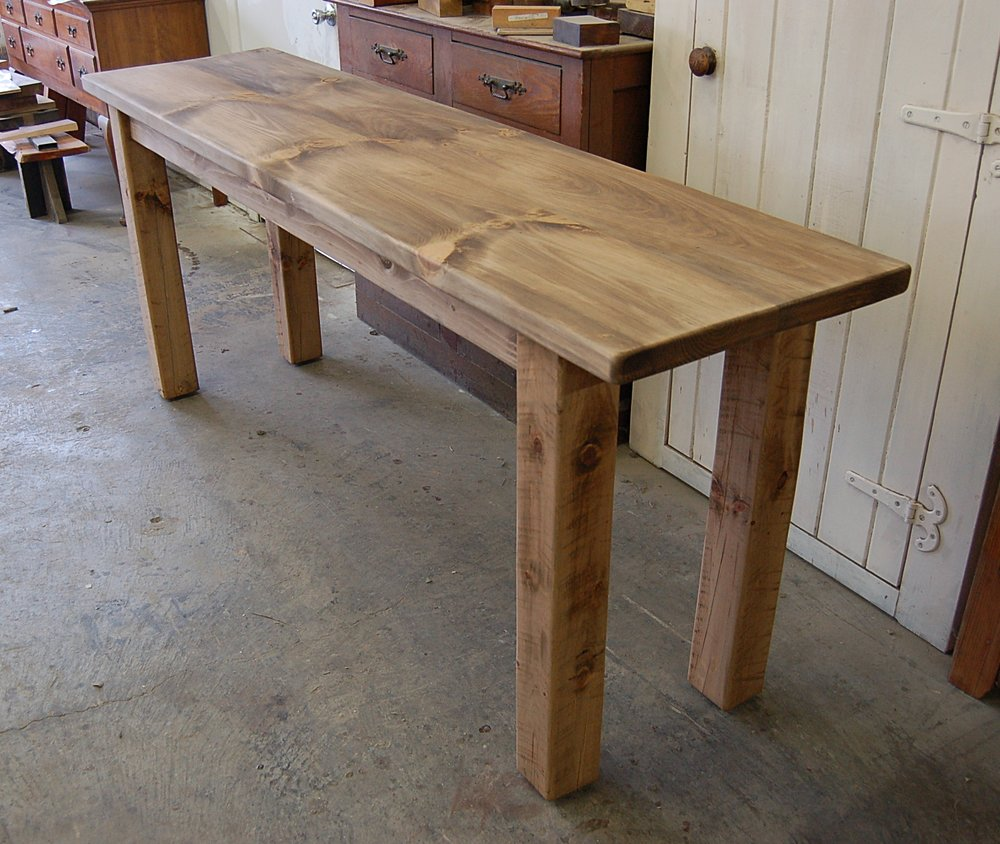 Pine Console with Square Legs and Light Walnut Stain.
