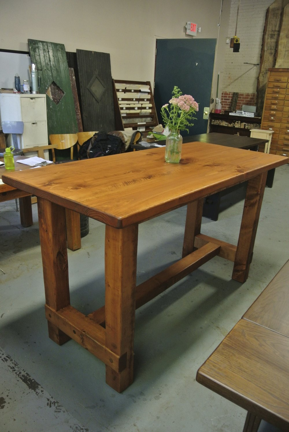 Pine Console with H-Leg Base and Early American Stain.