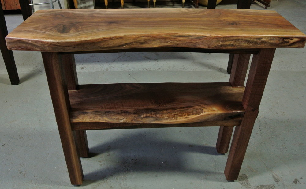 Walnut Live Edge Console with Live Edge Shelf.