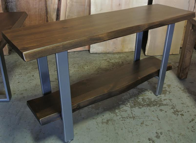 Walnut Live Edge Console with Shelf on 3x1 Steel Legs.